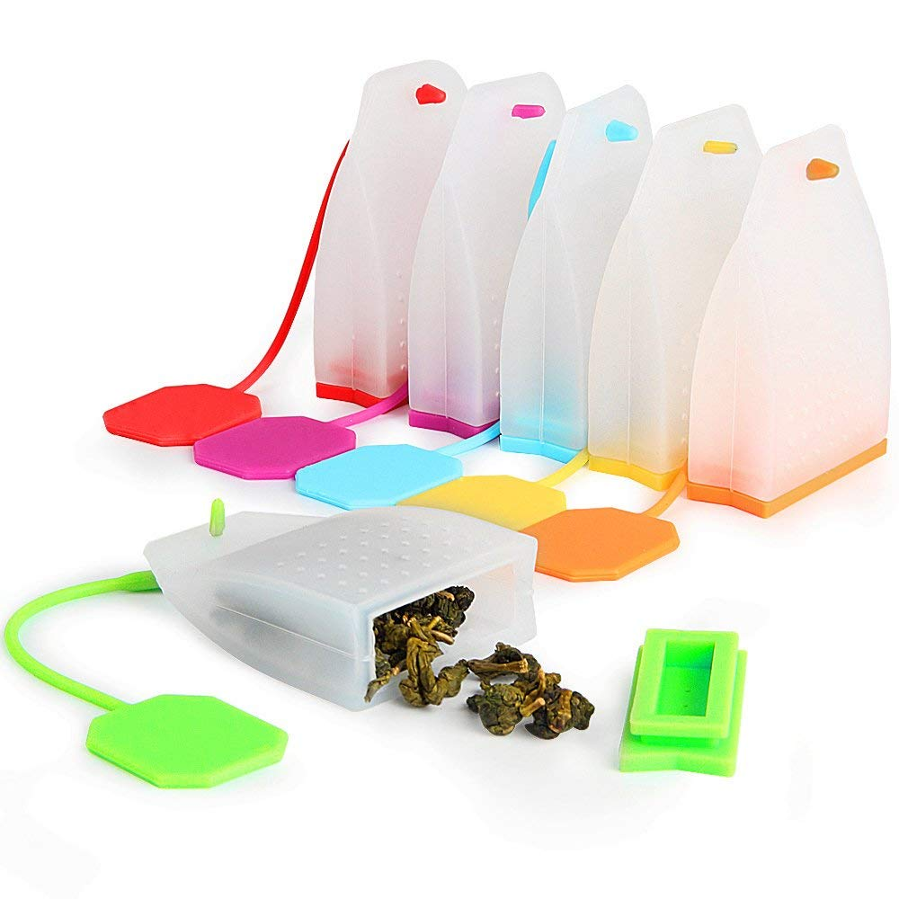 100/% alimentario Gshy Bolsas de filtros de t/é de Silicona Reutilizables para infusor de t/é Color Aleatorio 3 Unidades