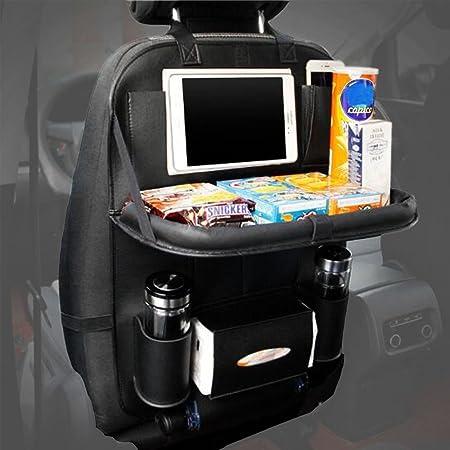 Organizador para autos Trade Pro. Mesa plegable para coche, funda de piel lujosa para proteger los asiento con bolsillo de pantalla táctil para tableta y móviles, para el respaldo del asiento del