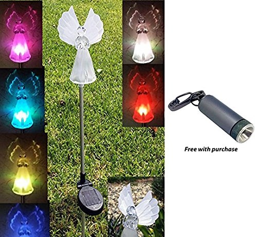 Angel Solar Light with Fiber Optic Wings (Set of 2) with Free LED Keychain Light by Green Garden Sunlight