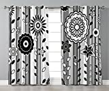 Thermal Insulated Blackout Grommet Window Curtains,Black and White,Monochrome Funky Blossoms Abstract Pattern Vertical Lines and Leaves Decorative,Black and White,2 Panel Set Window Drapes,for Living For Sale
