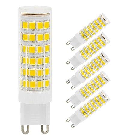 Paquete de 5 bombillos G9 LED, 7W G9 bombillas LED, sin parpadeos, reemplazo