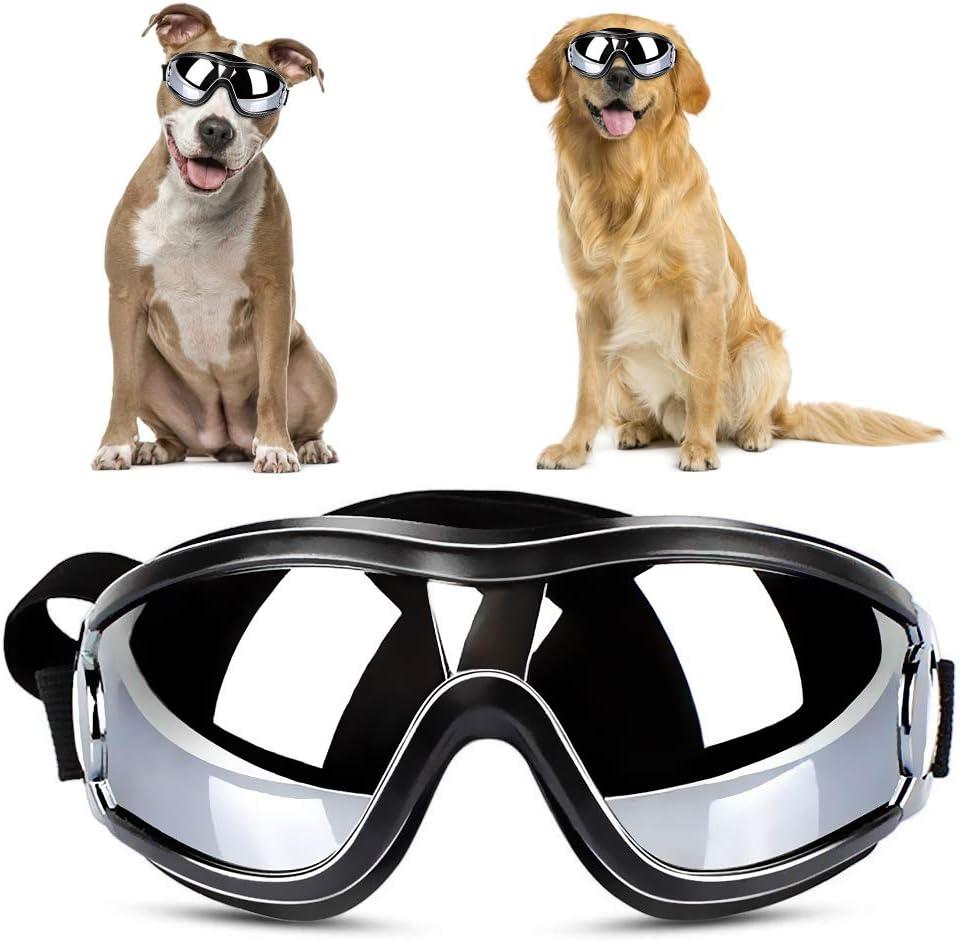YOUTHINK Gafas de Sol para Perros, Decoraciones para Mascotas Perrito Gafas UV Protección para los Ojos, Gafas de Sol Impermeables Antivaho para Perros Medianos y Grandes con Longitud Ajustable