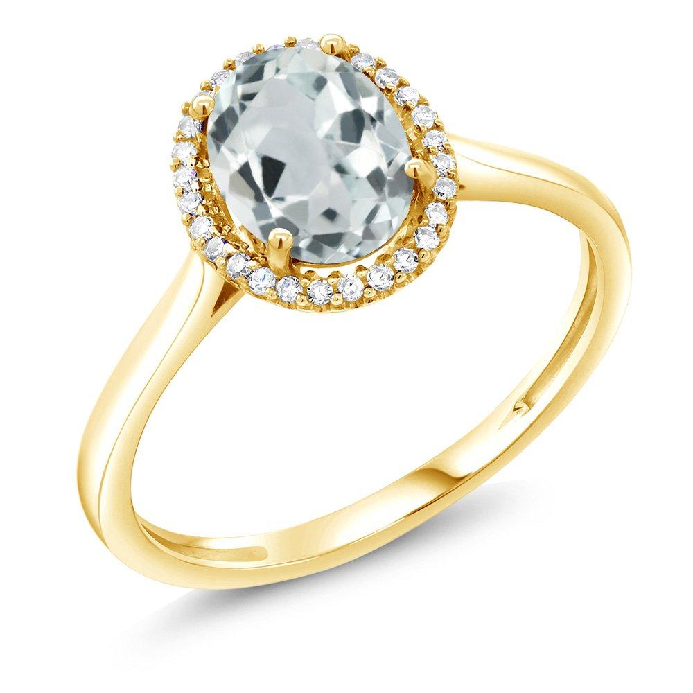 1.10 Ct Oval Sky Blue Aquamarine 10K Yellow Gold Diamond Ring (Size 7)