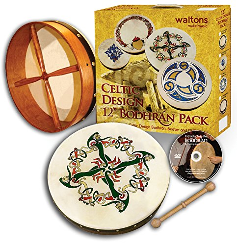 Waltons Bodhrán 12″ (Clonmacnoise) – Handcrafted Irish Instrument – Crisp & Musical Tone – Hardwood Beater Included w/Purchase