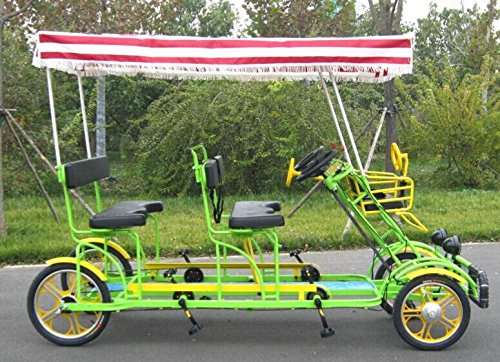 SSELF Four Person Surrey Bicycle Quadricycle Surrey Sightseeing Bike for  Vacation