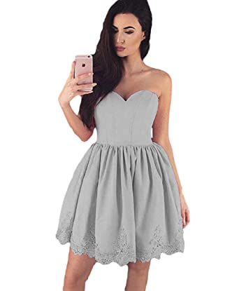 41621979fab Elleybuy Women s Sweetheart A Line Short Homecoming Dresses Backless Prom  Dress US2
