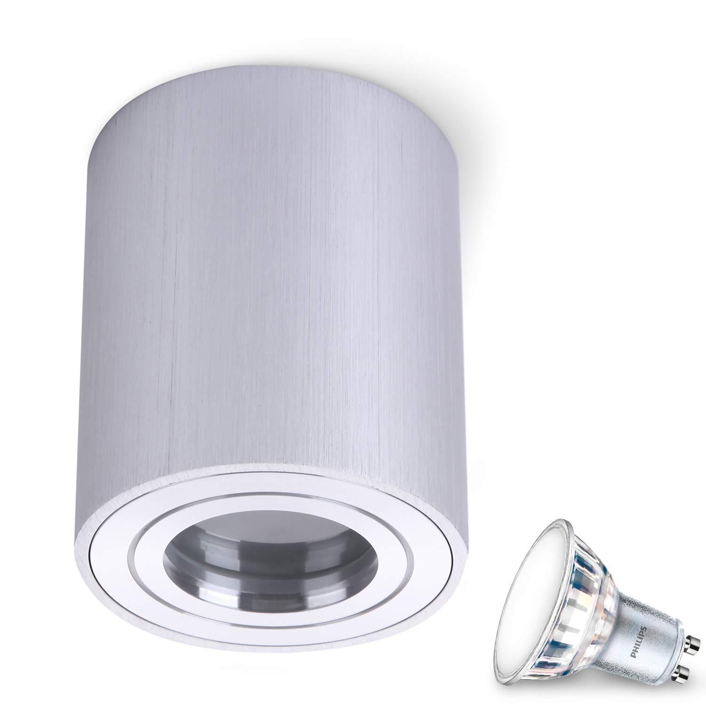 JVS Aufbauleuchte Aufbaustrahler Deckenleuchte Aufputz MILANO IP44 5W LED Warmweiss GU10 Fassung 230V quadrat schwarz Strahler Deckenlampe Aufbau-lampe Downlight aus Aluminium
