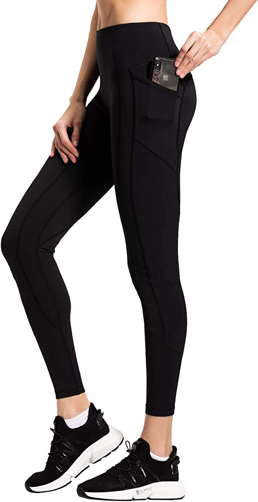QUEENIEKE Women Yoga Leggings Out Pocket Mid-Waist Workout Running 4 Way Stretch Pants