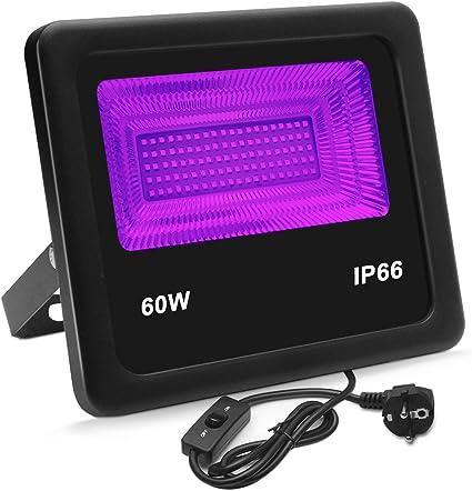 Lumiere Noire,Eleganted 100 Leds 60W Projecteur LED UV,IP66 Imperm/éable Lampe Ultraviolet avec Tnterrupteur ON//OFF pour No/ël /Étape Disco DJ Soir/ée Halloween Eclairage