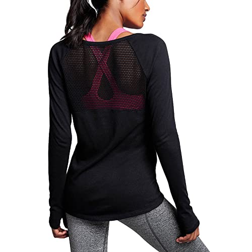 Ssyiz Womens Yoga Workout Mesh Back Long Sleeve Shirt with Thumb Holes