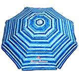 Tommy Bahama Sand Anchor Beach Umbrella SPF 100+ Sun Protection (Blue/White)