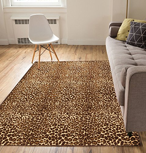 Leopard Print Rugs (Non-Skid Slip Rubber Back Antibacterial Brown Leopard Animal Print Modern Thin Low Pile Machine Washable 5 x 7 (5' x 7') Indoor Outdoor Kitchen Hallway Entry)