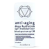 Ayadara Sun Salutation Goddess, Facial Sunscreen, Broad Spectrum SPF 30, Anti-Aging Face Moisturizer for Women and Men, 1.7 fl oz (50 ml)