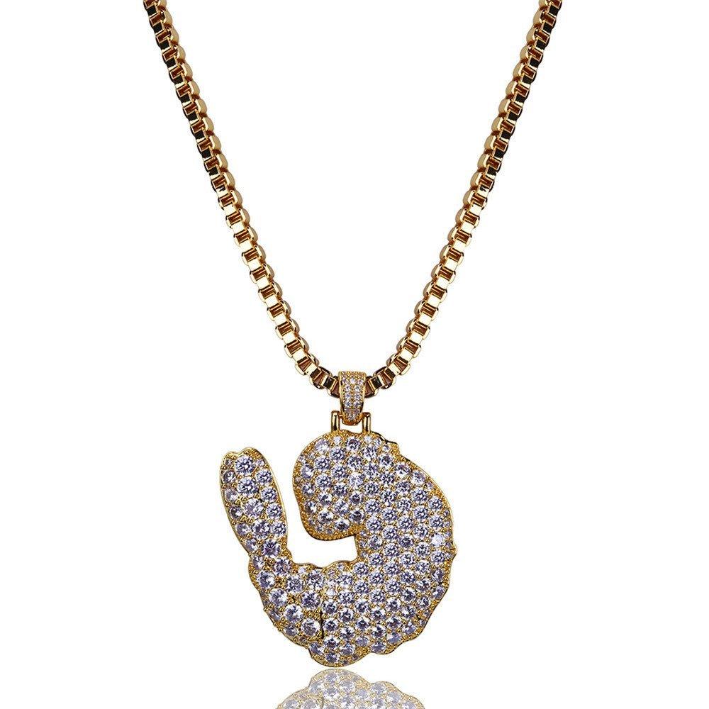 Jewelrysays Hip Hop Men CZ Jewelry Mini Shrimp Shape Pendant Gold Cartoon Necklace(Ropoe Chain)