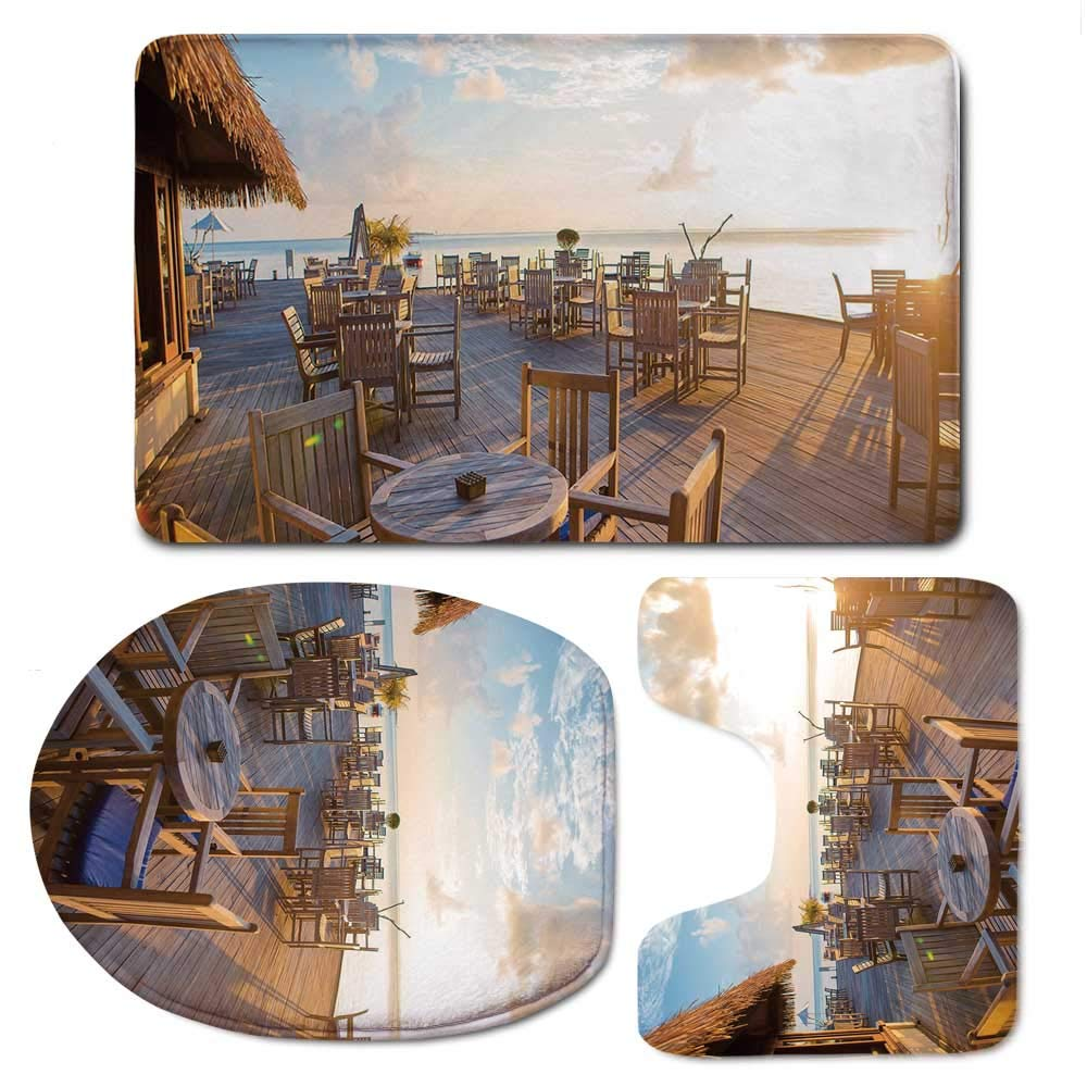 YOLIYANA Travel Decor Durable Bathroom 3 Piece Mat Set,Empty Wooden Open Air Cafe in Summer Near The Sea at Exotic Island for Bathroom,F:20'' W x31 H,O:14'' Wx18 H,U:20'' Wx16 H