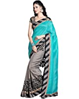 Lizel Fashion Women's Cotton Saree With Blouse Piece (11000_Grey)