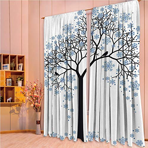 franlinkcossosoph Curtain with Light Shielding for Window Treatment,Winter,Barren Tree Silhouette with Snowflake Leaves Hand Drawn Interpretation Snow Season Decorative,84.3