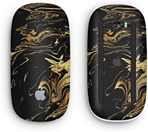 Black & Gold Marble Swirl V12 - Design Skinz Premium Vinyl Decal for The Apple Magic Mouse 2 (Wireless, Rechargable) with Multi-Touch Surface