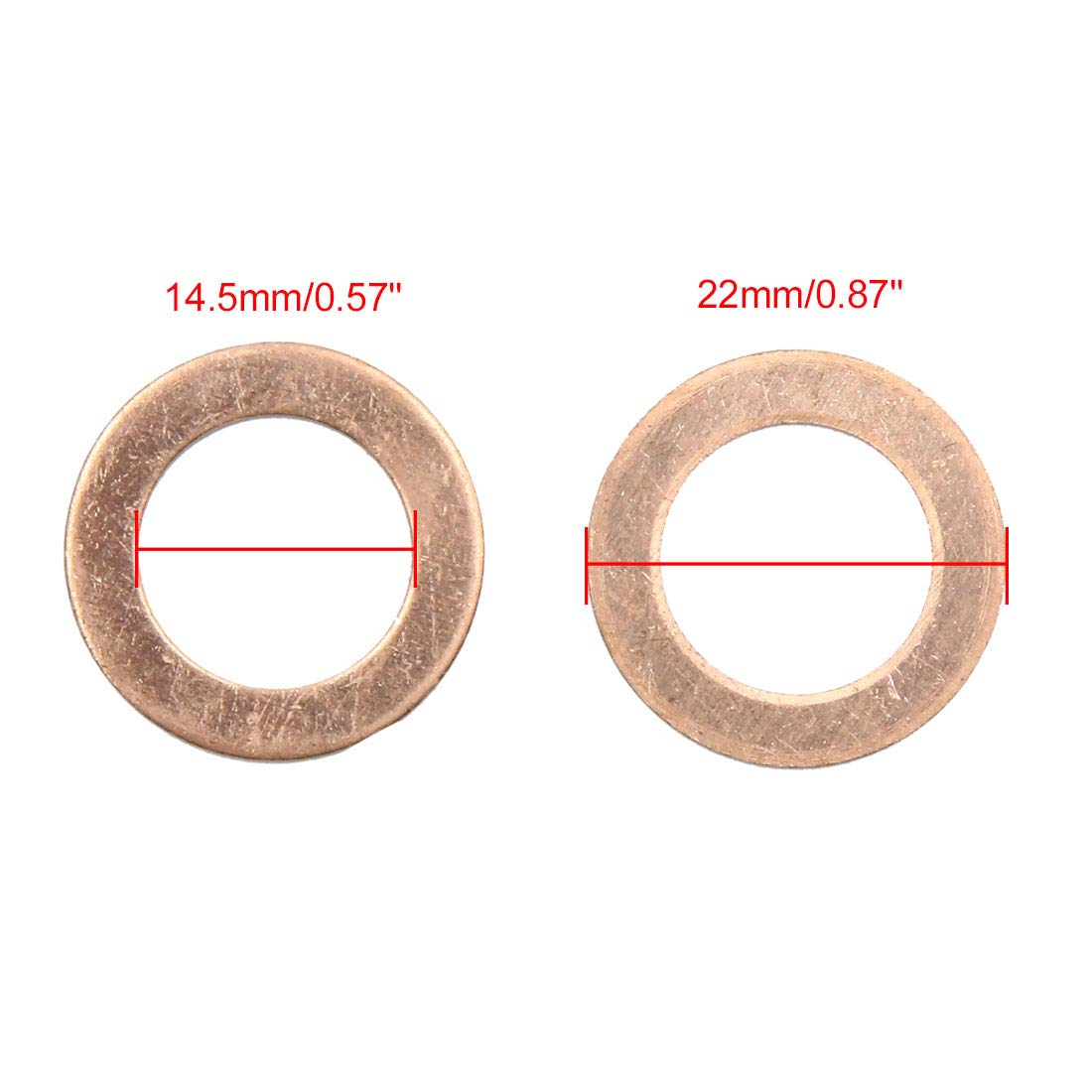 X AUTOHAUX 14.5mm Inner Dia Copper Crush Washers Flat Car Sealing Gaskets Rings 30pcs by X AUTOHAUX (Image #3)