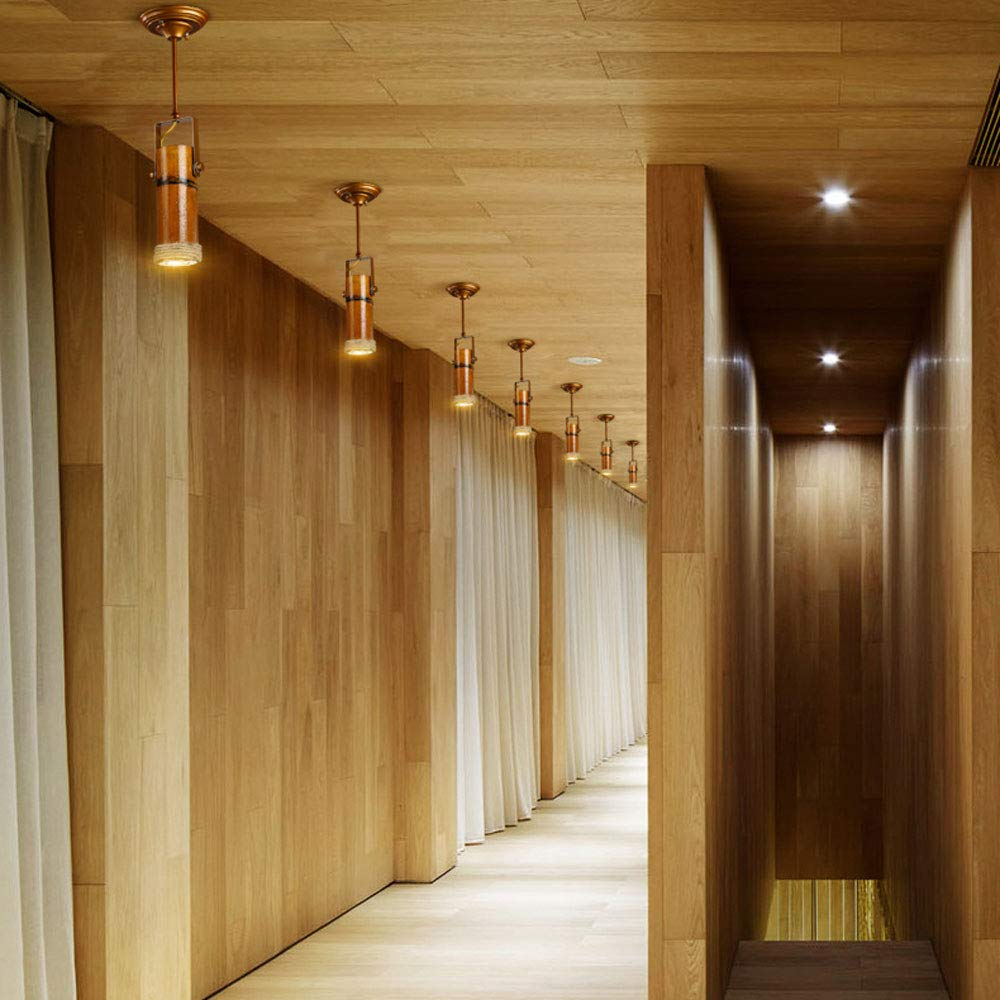 ZJⓇ Spotlight Track Light - Personality Creative Hemp Rope Bamboo Downlight Retro Hotel LED Lamp Long Rod Light - 5 Models - New Chandelier && (Size : 1) by ZJⓇ Spotlight (Image #6)