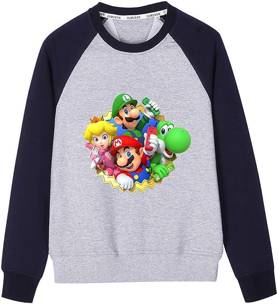 GEIUEIMAN Super Mario Bambini Adolescenti Rotondo Collo Manica Lunga Sportive T-Shirt 3D Stampa Casual Maglietta