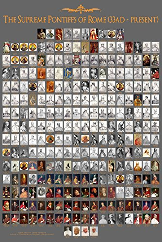 Pope Poster - All 266 Popes from Peter to Francis - 24x36