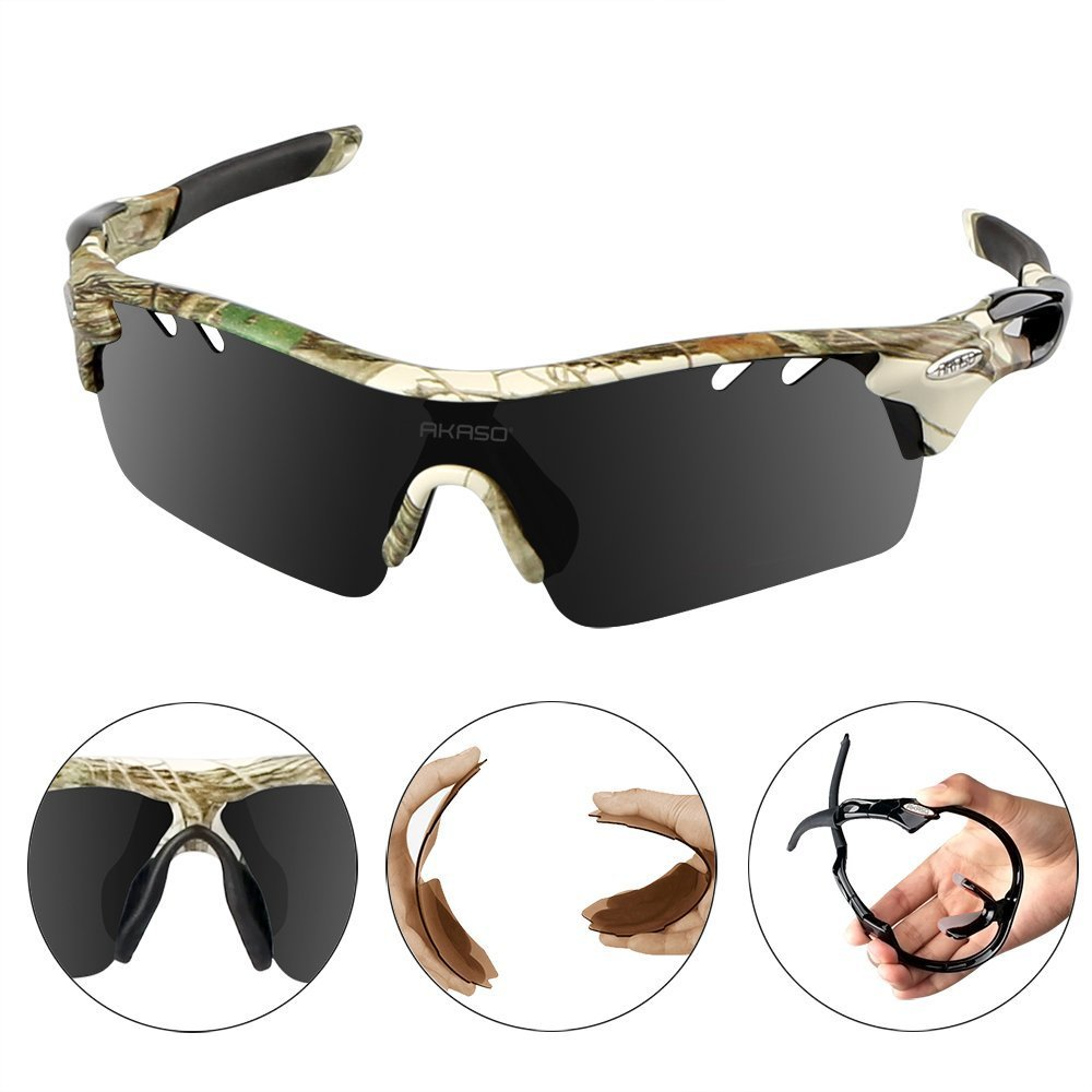 a2c723b0d1b ... AKASO Mens Chameleon Multisport Polarized Sunglasses with 5  interchangeable lenses and 100% UV Protective Cycling ...