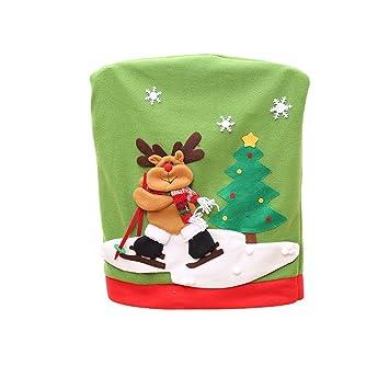Gespout Navidad Decoración Silla Cubierta Elástica Tapa Silla Comedor Lavable Poliéster Sillas Protección Fundas para Hotel Restaurante Familia Cena Cover ...