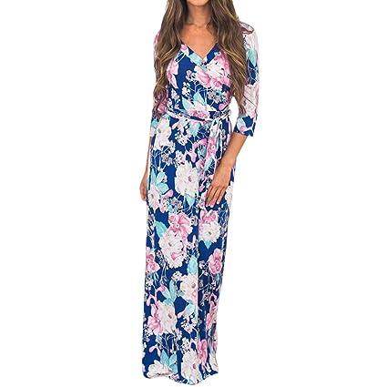 Wave166 Vestido Largo Mujer Bolsillos de Color sólido Vestido ...