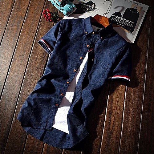 yシャツ メンズ 半袖 オックスフォード カジュアル ビジネス デニム シャツ 大人 男性用 GAYATO ワイシャツ ファッション ボタンダウン 細身 折り襟 無地 多色選択 大きい サイズ M ~ 2XL 父の日プレゼント BD-32