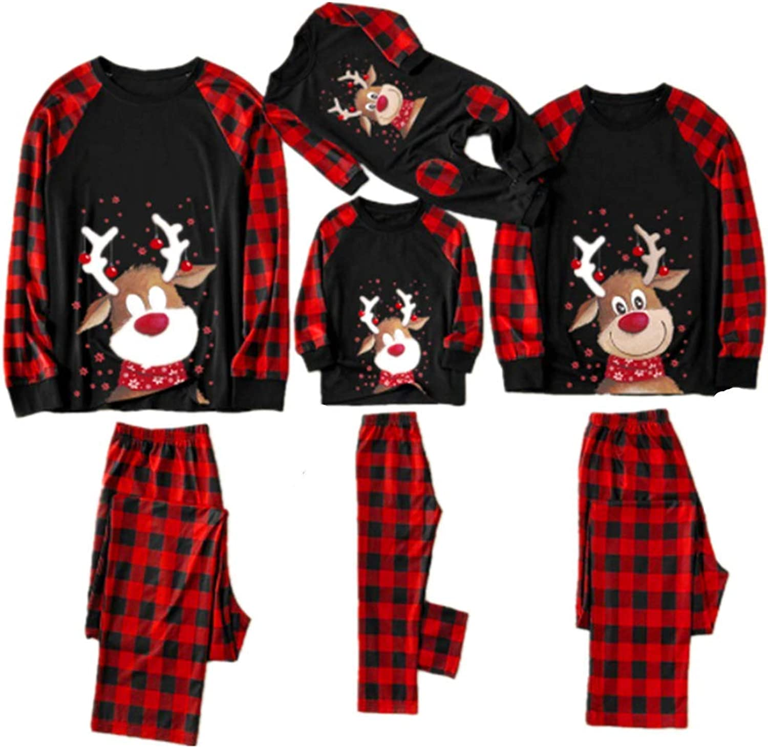 Christmas Matching Family Pajamas Set Xmas Pjs with Letters Print Shirt Red Plaid Pants Homewear Sleepwear Outfits