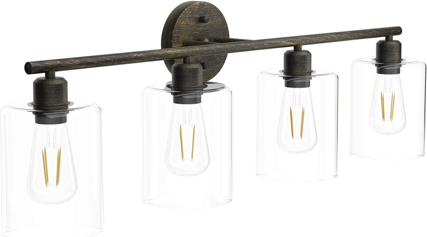 Exclude Bulb Black Vintage Vanity Light Aipsun Bathroom Vanity Lighting Fixtures Industrial Vanity Light for Bathroom Black Wall Light Over Mirror