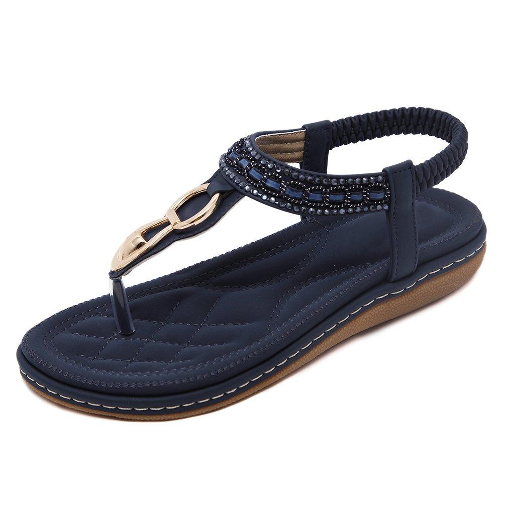 YoungSoul Damen Sandalen mit Verzierung Sommer Schuhe PU Leder Bohemia Stil Flach Sandalen Zehentrenner  EU 40/Asien 42|Blau
