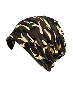 Women's Hip-hop Slouchy Lightweight Turban Beanie Thin Summer Cap Skull (Brown)