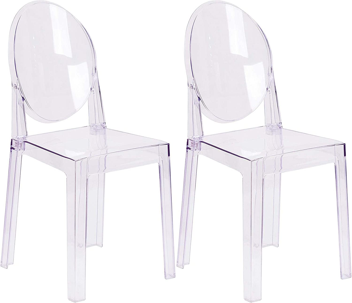 Flash Furniture Ghost Chair with Oval Back in Transparent Crystal Pack of 2