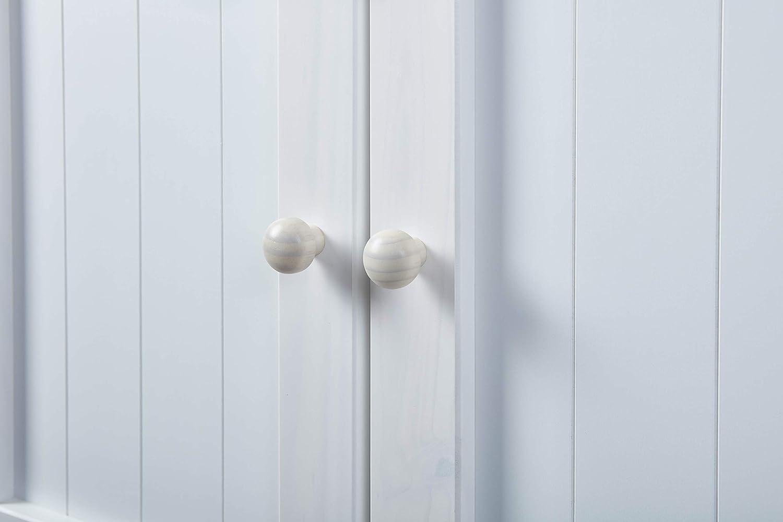 Inter Link Cómoda de Estilo Rústico con 3 Cajones y 3 Puertas de Madera Maciza de Pino Pintada en Blanco / Milkyskin, 130 x 45 x 86 cm: Amazon.es: Hogar