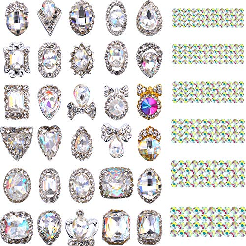 Bememo 2030 Pieces 3D Crystal AB Color Flat Back Rhinestones Nail Art DIY Crafts Gemstones with Nail Art Gem Stones (2030 Pieces, Style B)