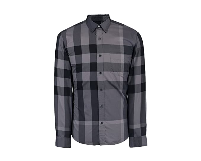 39ec905c Burberry Brit Men's Long Sleeve Charcoal Exploded Check Button Down ...