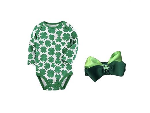 f41ef6df9 Custom Bundled Products Carters Baby Girl ST Patrick's Day Shamrock  Bodysuit Plus Head Wrap Bow (