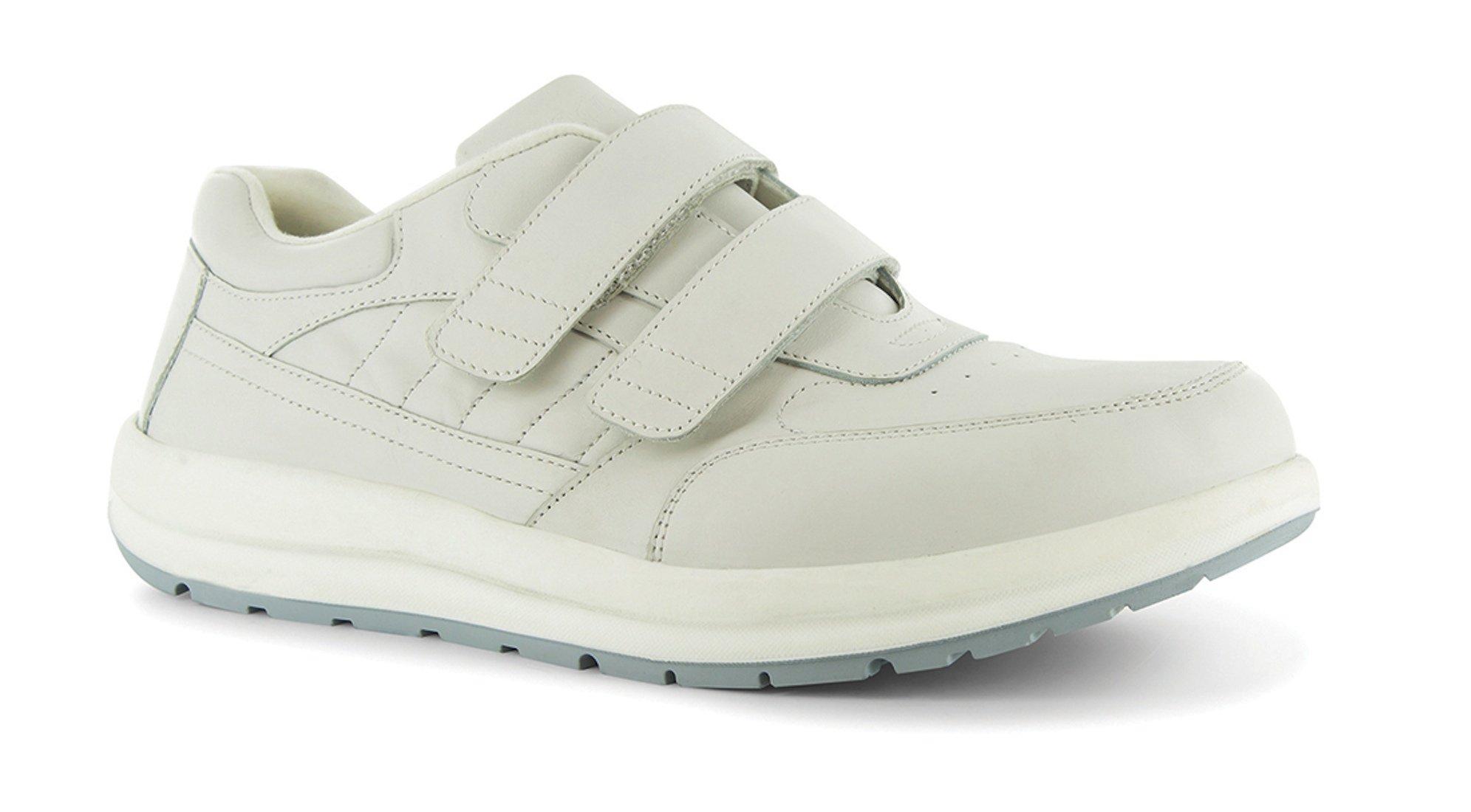 P W Minor Performance Walker Men's Therapeutic Casual Extra Depth Shoe: White 7 Medium (D) Velcro