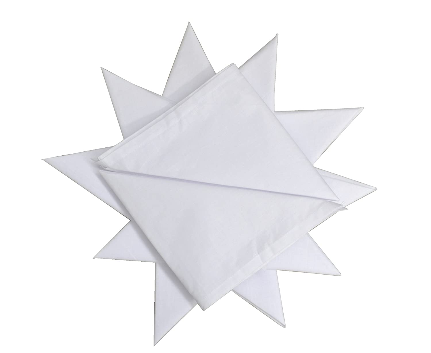 12 Pack Men's 100% Cotton White Handkerchief 16
