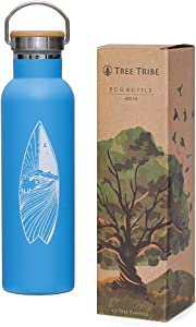 Tree Tribe Stainless Steel Water Bottle, Eco Friendly, Double Wall Vacuum Insulated Reusable Bottle, Keeps Water Cold All Day, Leak Proof Design, Lead Free, BPA Free, Wide Mouth with Easy Carry Handle