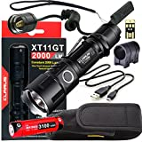 Klarus Upgraded XT11GT WEAPON BUNDLE w/ Tactical Rechargeable Flashlight, 18650 Battery, TRS1 Remote Pressure Switch, Onset Gun Mount, USB Cable, Lanyard, Holster, Pocket Clip, and USB Mini Light