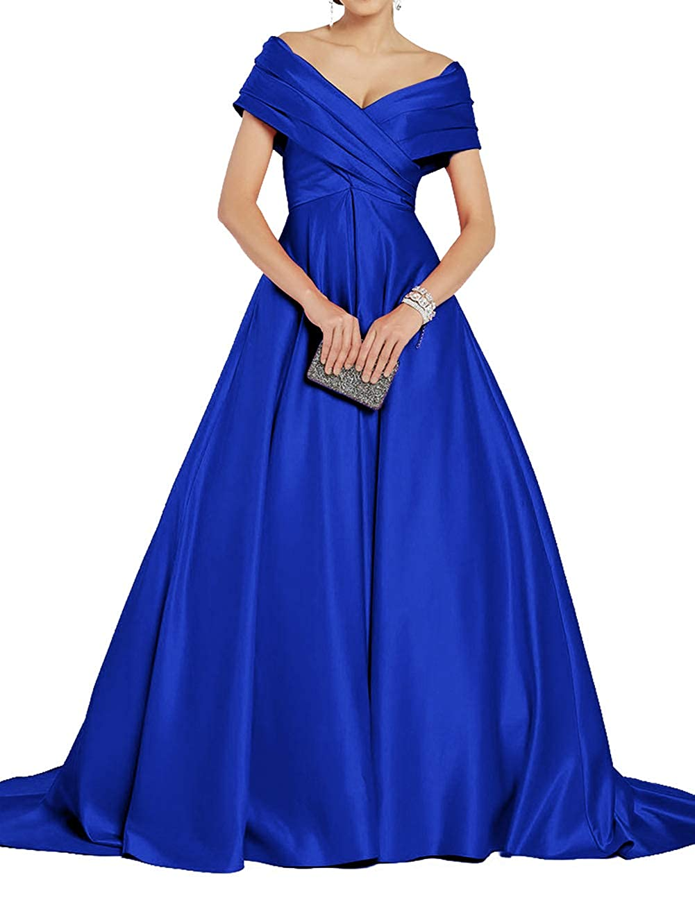 Royal bluee Uther Off Shoulder Prom Dresses Long ALine Satin Ball Gowns for Women Formal Evening