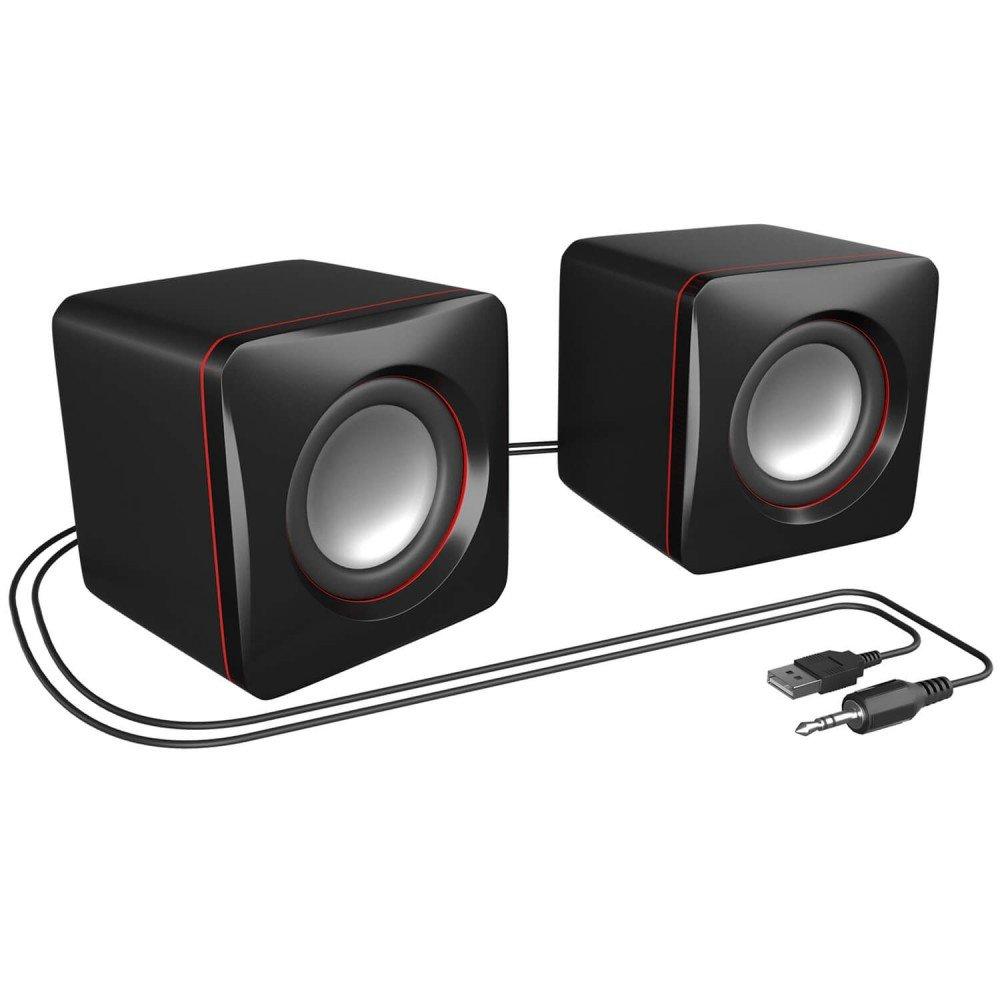 MARS GAMING MAS0 Gaming-Lautsprecher schwarz und rot 8W Leistung, kompakte Gr/ö/ße, optimierte Bassleistung, 2.0-Kanal-System, 3D-Sound, USB, 3.5mm Klinke, PC//Mac // Smartphone//Tablet