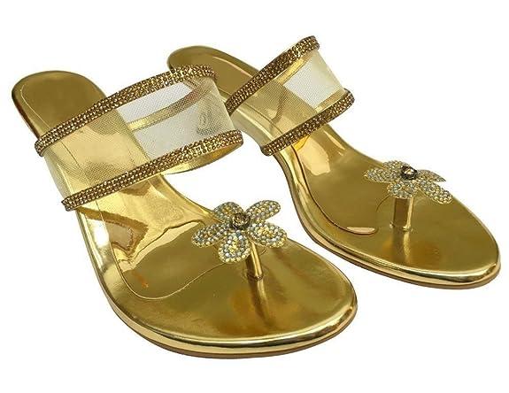 Step n Style - Sandalias de vestir de Material Sintético para mujer dorado dorado, color dorado, talla 36.5