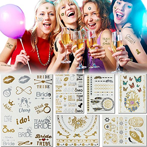 7 Sheets 80+ Design Silver & Gold Flash Tattoos Kit Metallic Bridal Bachelorette Party Favor Temporary Tattoos for Women (Eh Halloween Party)