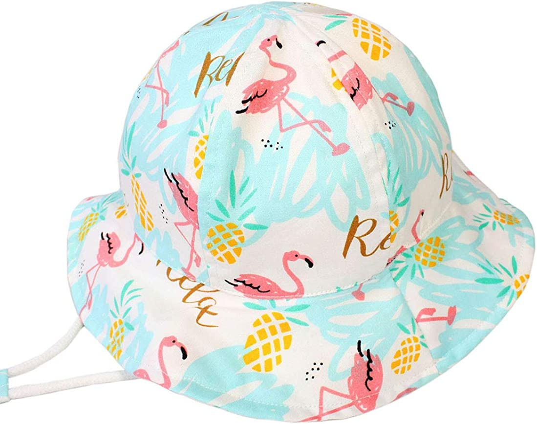 Wide-Brim Bucket Kids Beach Hats with Chin-Strap Fit Under 10 Years Flamingo Baby Sun hat