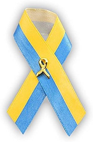 Síndrome de Down conciencia azul y amarillo cinta satén pins (3 Pack): Amazon.es: Joyería