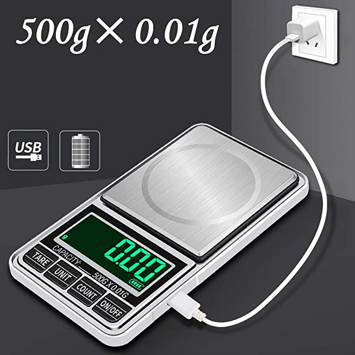Digital Pocket Gram Scale - Precision 0.01g Capacity 500g Mini Small Scale Portable Jewelry Weed Scale Tare Auto Off with USB Cable(Black)